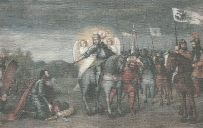 A mural depicting Wenceslaus's duel with Radslav