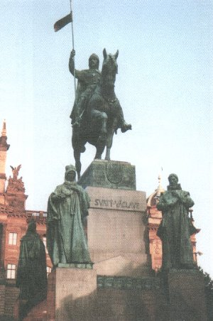 Statue of Saint Wenceslaus in Wenceslas Square in Prague